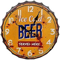 HDC International 05-0073 Ice Cold Beer Bottle Cap Wall Clock, 14, Orange