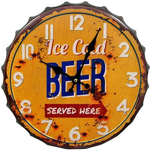 HDC International 05-0073 Ice Cold Beer Bottle Cap Wall Clock, 14