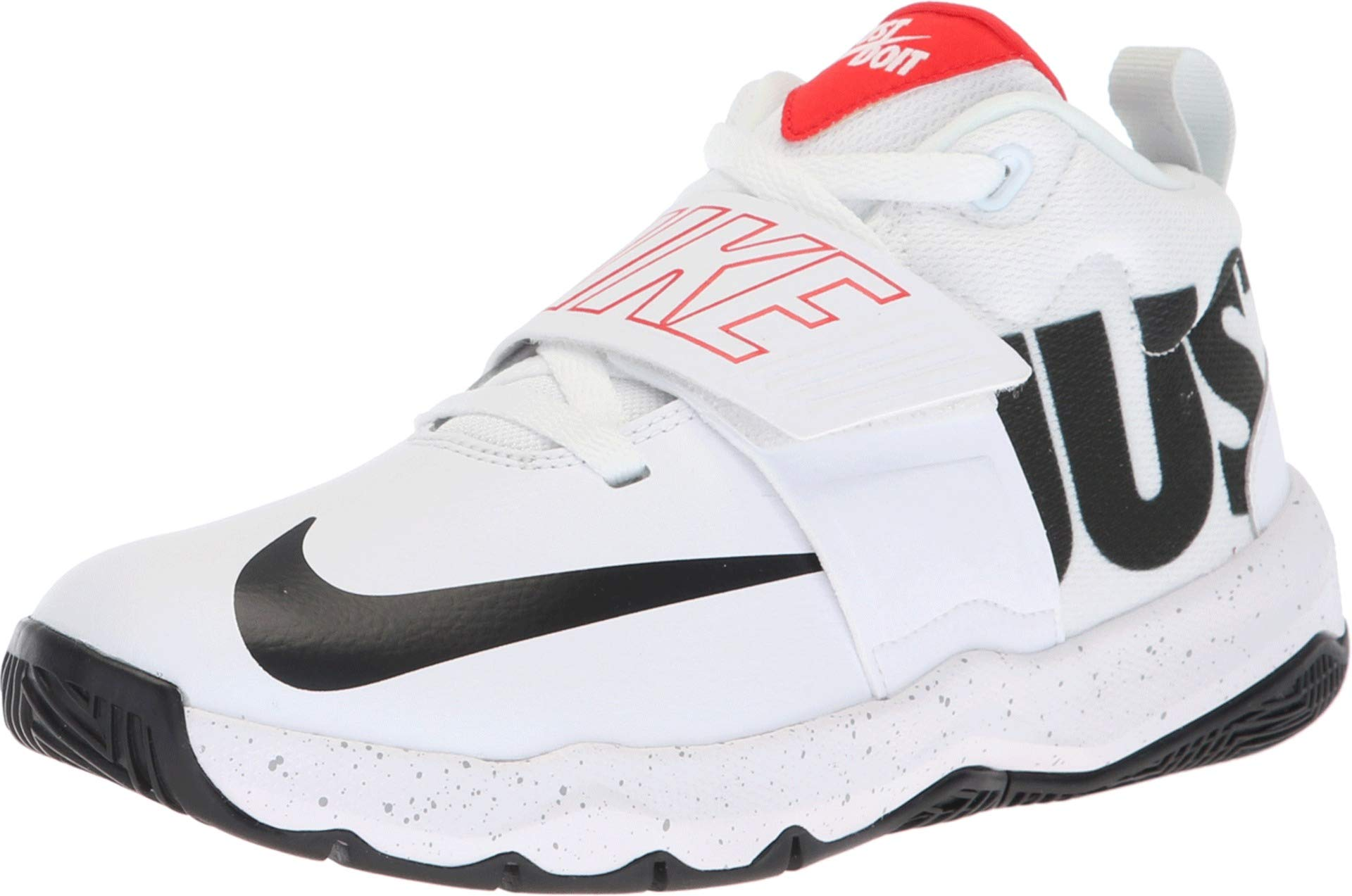 NIKE Kids' Team Hustle D 8 (Gs) Basketball Shoe (7 M US Big Kid, White/Black Just Do It)