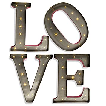 15 metal led lighted love letters gerson wall