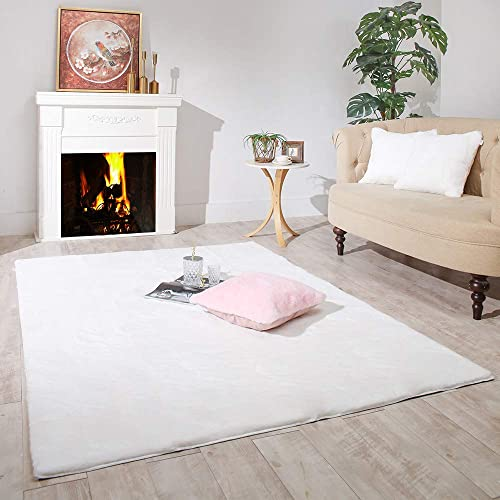 Carvapet Ultra Soft Faux Rabbit Fur Area Rug Fluffy Bedside Carpet Mat