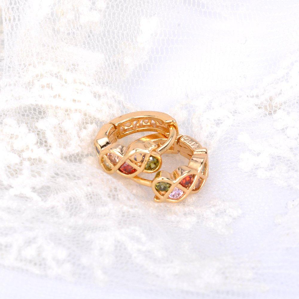 afb9a0e5f1ec ShineDew Pendientes de aro de circonio cúbico Multicolor Plateado Oro de 18  k para Mujer aretes  Amazon.com.mx  Juegos y juguetes