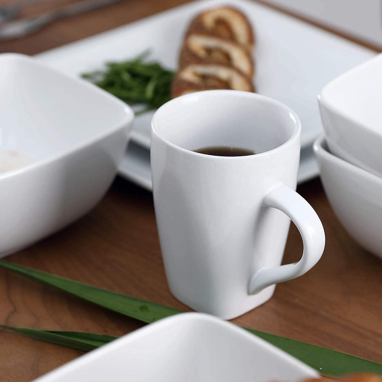 s/érie NEva Noir en Porcelaine Service de Table vancasso 16 pi/èces pour 4 Personnes
