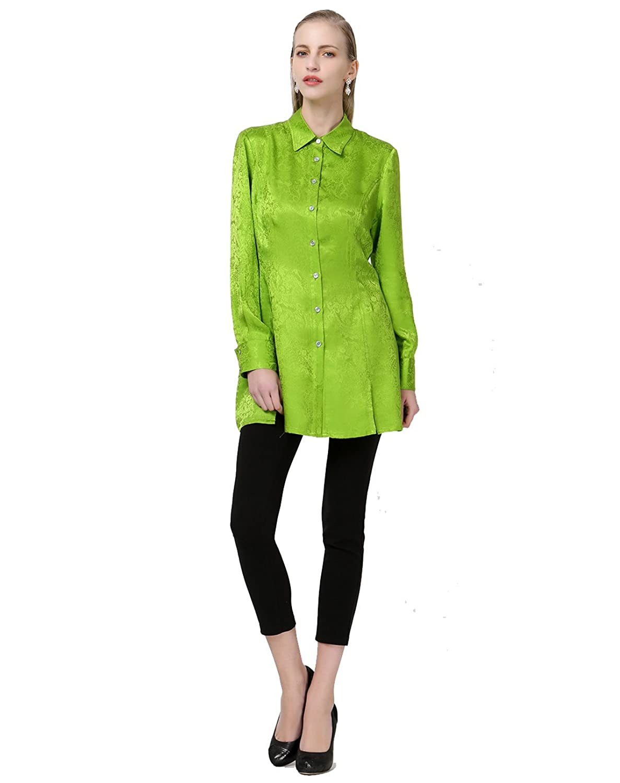 VOA Women's Silk Long Sleeve Green Blouse Top Shirt