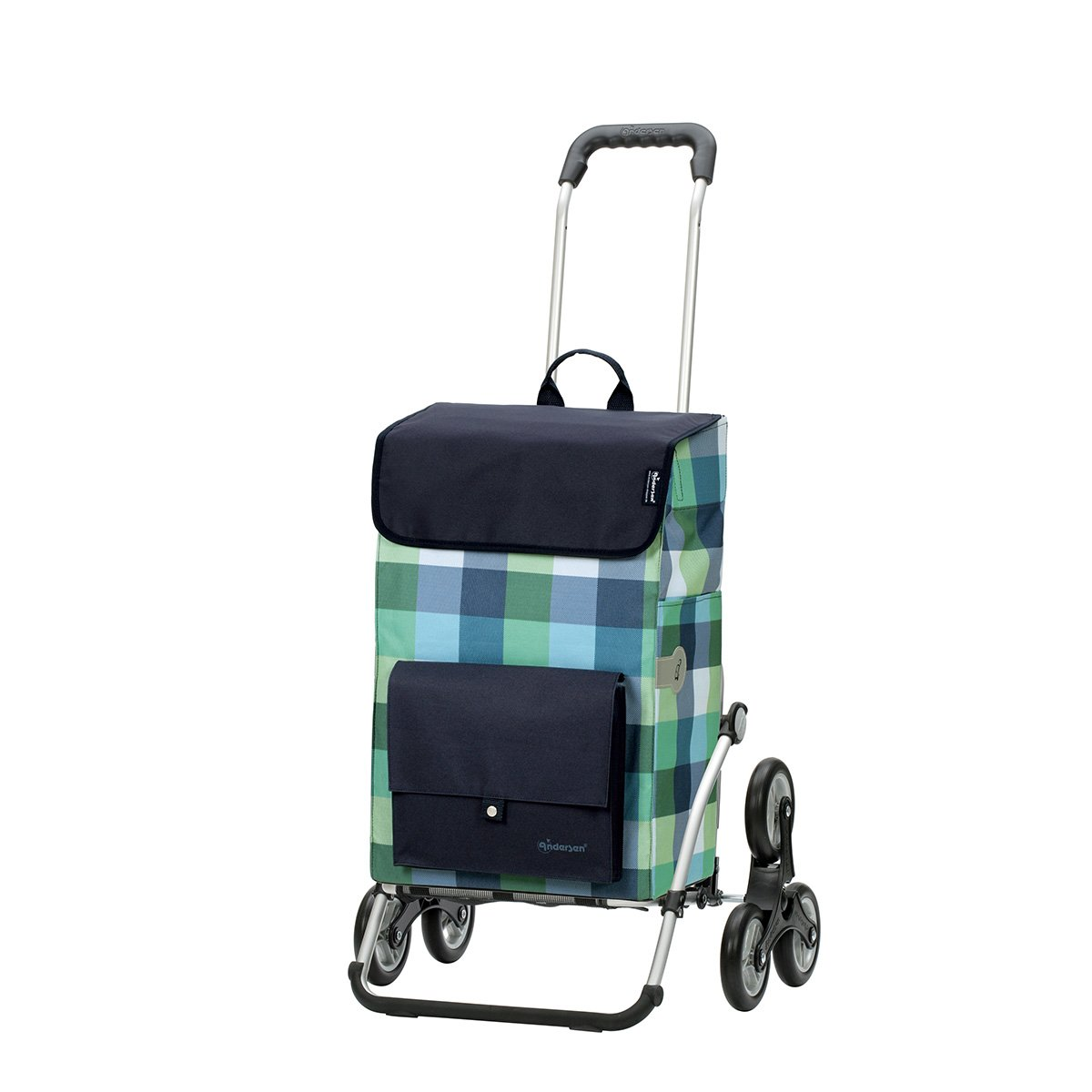Andersen Carello portaspesa Royal con borsa Riva blu, capienza di 49L, telaio in alluminio e 6 ruote saliscale Andersen Shopper Manufaktur