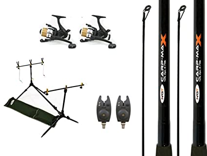 Amazon.com : 2 x Carp Rods Reels and Alarms with Rodpod Full ...