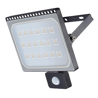 LED Lámpara Plana con Sensor de Movimiento(PIR), Foco IP66 Impermeable, Proyector con SMD2835 Chip, Luz ...