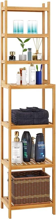 Homfa Estantería Bambú Baño Estantería Alta Almacenaje para Baño Salón Cocina Dormitorio con 7 Estantes Bambú Natural 36x28x160cm