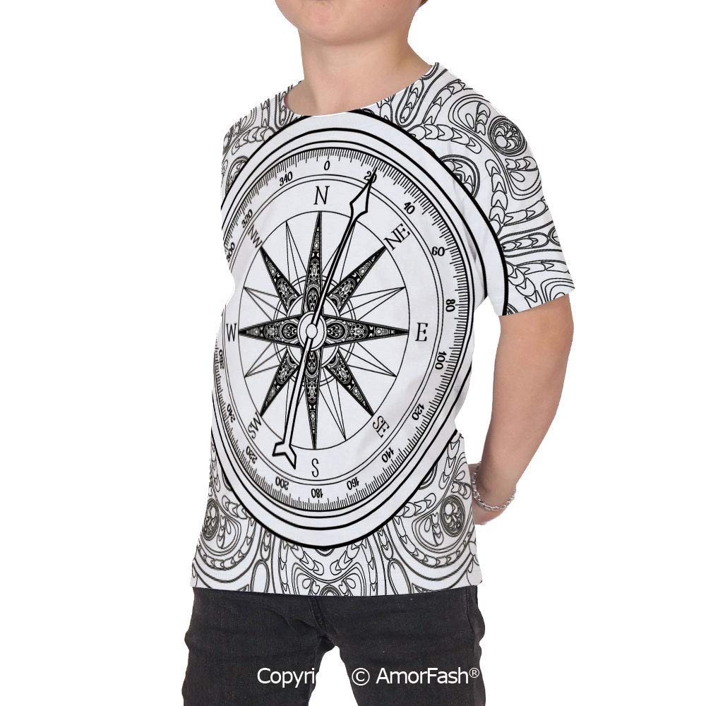 Compass Girl Short-Sleeve Crewneck Polyester T-Shirt,Hand Drawn Windr