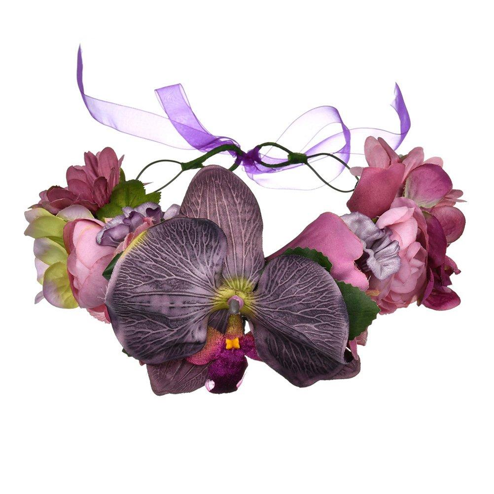 Vivivalue Boho Moth Orchid Flower Crown Hair Wreath Halo Floral Garland Headband Headpiece with Ribbon Festival Wedding Party Purple