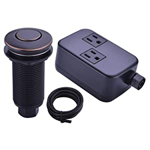 BESTILL Sink Top Garbage Disposal Air Switch Kit with Dual Outlet,Oil Rubbed Bronze/ORB (Long Button with Brass Cover)