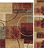 Universal Rugs Tacoma Contemporary Abstract Multi-Color 3-Piece Area Rug Set, 3-Piece Set For Sale