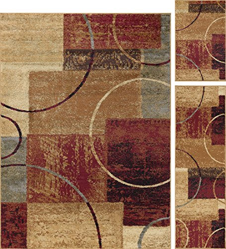 Tacoma Contemporary Abstract Multi-Color 3-Piece Area Rug Set, 3-Piece Set