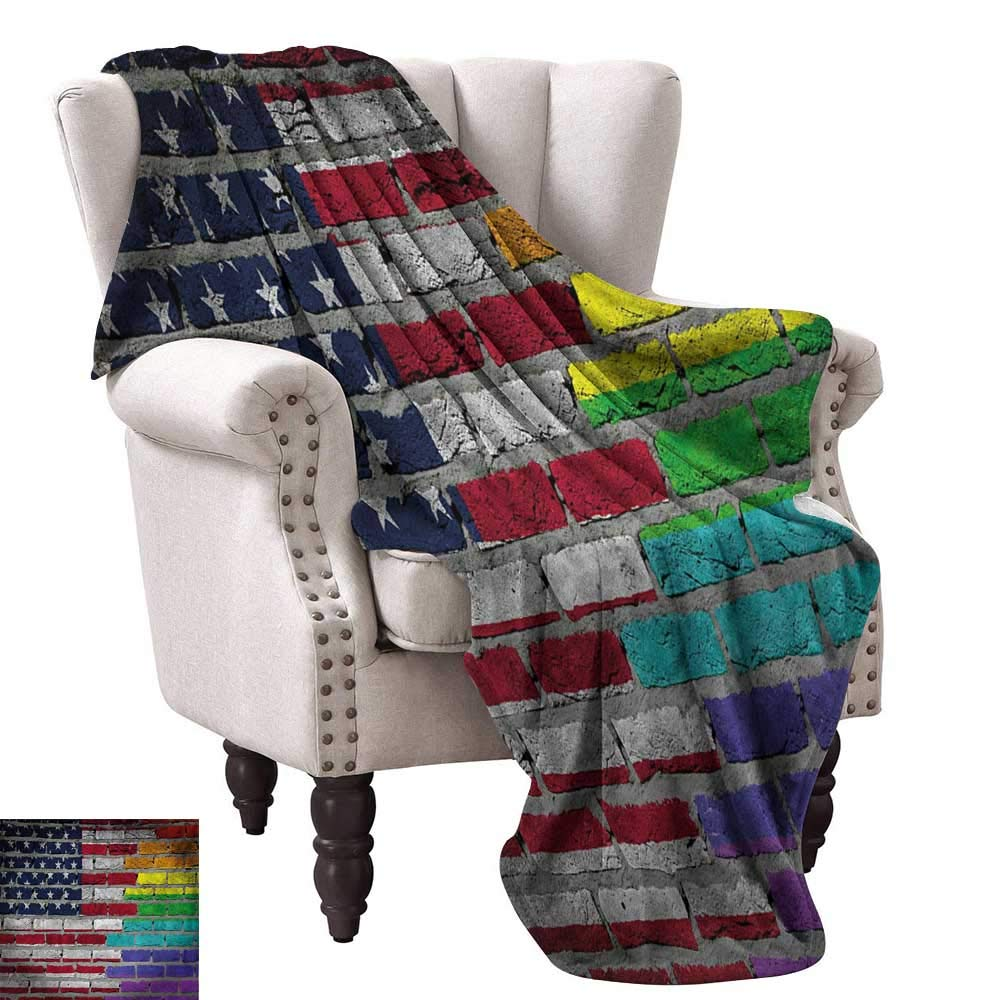 color08 60 Wx80 L WinfreyDecor Pride Decorative Throw Blanket Grungy Rainbow with Thumbs Up Art Illustration Approbation Acceptance Gesture Print Sofa Chair 60  Wx60 L Multicolor