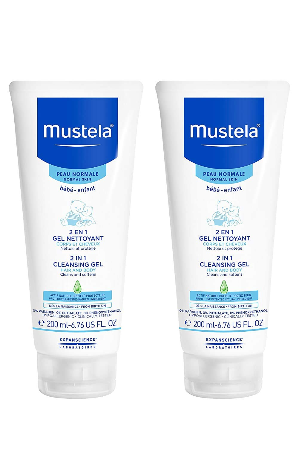Mustela Baby 2-in-1 Cleansing Gel - Baby Body & Hair Cleanser - with Natural Avocado - Biodegradable Formula & Tear-Free