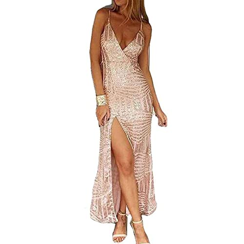 Missord Womens Sleeveless V Neck Sequined Maxi Prom Dress with Side Split