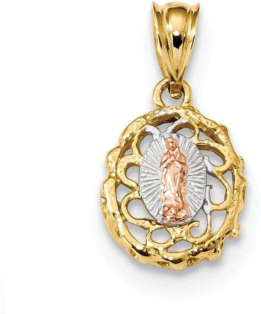14k Two-Tone White Rhodium Polished Lady of Guadalupe Pendant