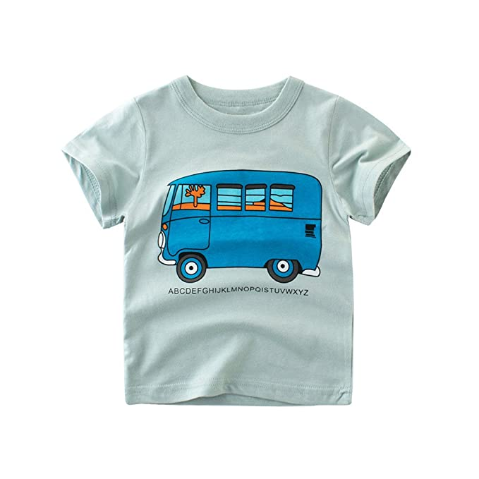 Lonshell Verano Camisetas de Manga Corta Patrón de Dibujos Animados Camiseta  para Bebés Niños Niñas Ropa de Impresión de Coche Tigre Pez Corona Tops para  ... b6ee61316ae