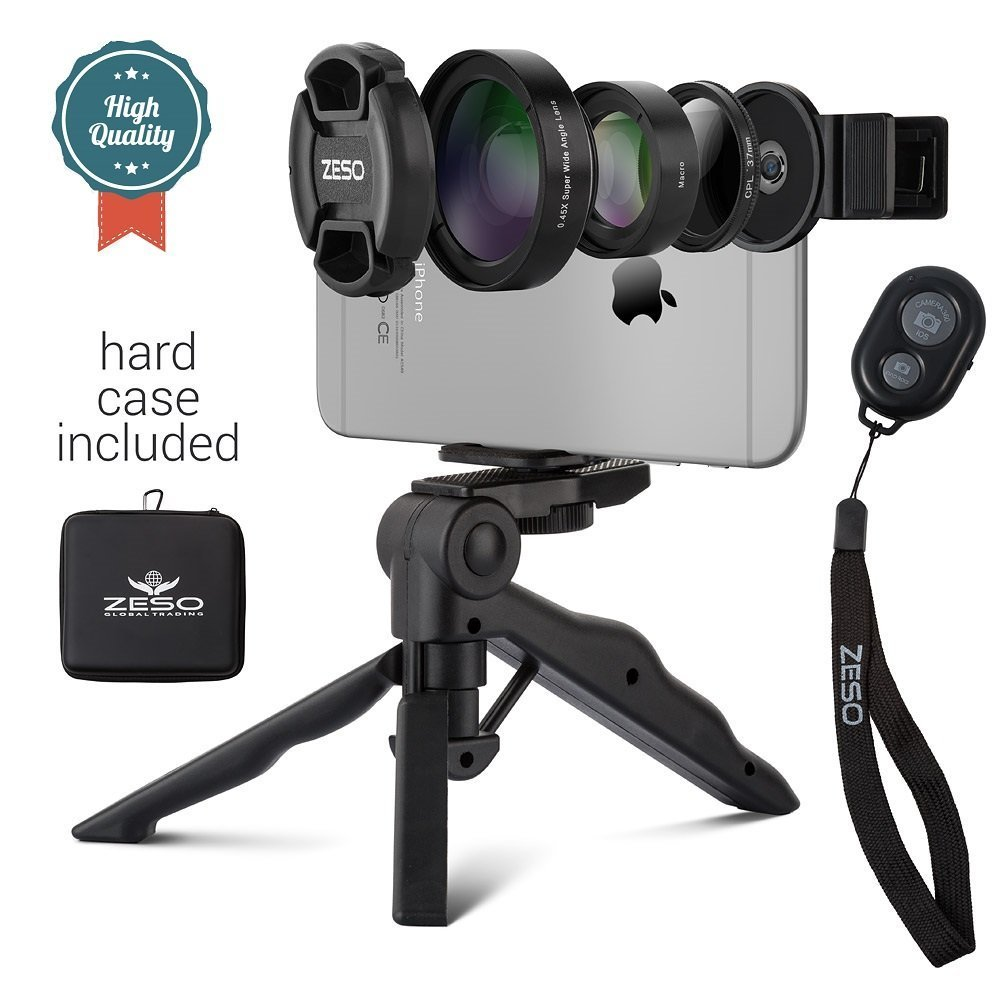 Camera Lens Kit by Zeso | Professional CPL, Macro & Wide Angle Lenses | Multi-use tripod & Selfie Remote Control | For iPhone, Samsung Galaxy, iPads, Tablets | Hard Storage Case & Universal Phone Clip by Zeso lens