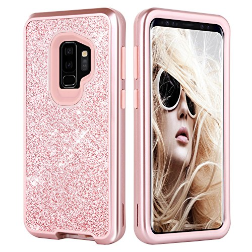 Galaxy S9 Plus Case, DUEDUE Glitter Sparkle Bling Heavy Duty 3 in 1 Case Hybrid Hard PC Cover Soft TPU Bumper Shockproof Anti-Scratch Full Body Protective Cases for Samsung Galaxy S9 Plus, Rose Gold