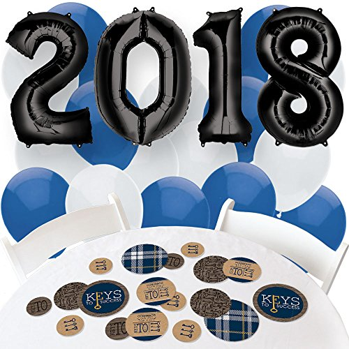 2018 Grad Keys to Success - Confetti and Balloon Graduation Party Decorations - Combo (Simple Graduation Decorations)