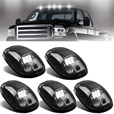 NPAUTO 5pcs Smoked LED Cab Marker Lights White 9 LED Roof Top Clearance Lights Running Lights for 2003-2020 Dodge Ram 1500 2500 3500 4500 5500 Pickup Truck: Automotive