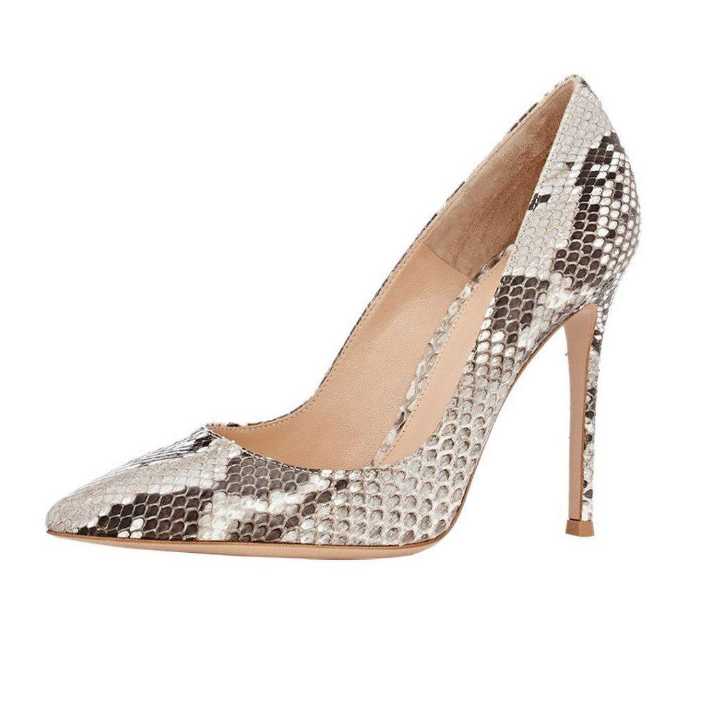 Kolnoo 100mm Damenschuhe Pumps Animal Print Python Schuhe mit Stiletto High Heels
