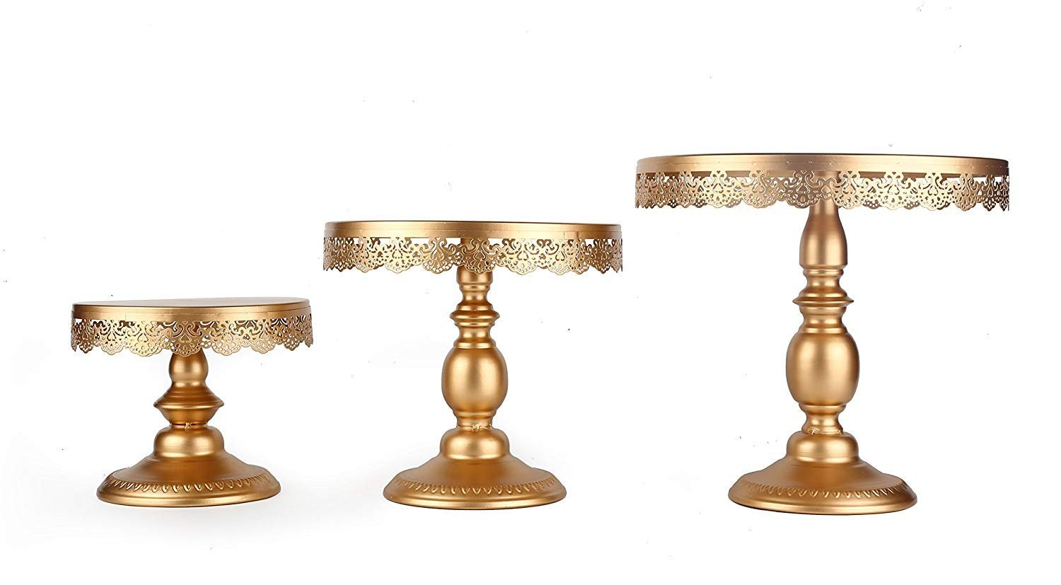 NITORA 3 Set Gold Metal Cake Stand, Round Dessert Cupcake Pedestal Display Plate for Wedding Birthday Party