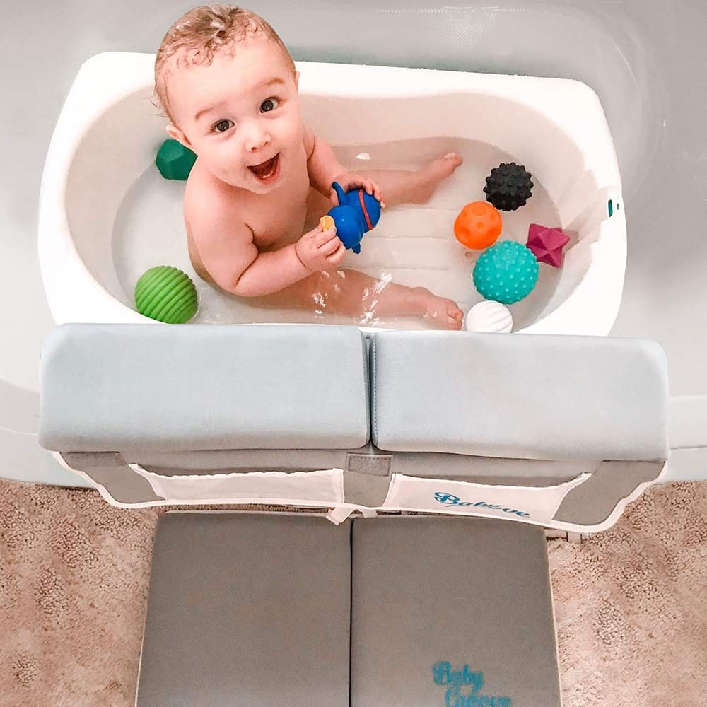 Premium Bath Kneeler and Elbow Rest Set - Thick Cushioning for Your Knees - Supreme Comfort - Essential Baby Bath Kneeling Pad / Tub Kneeler - Baby Bath Accessories Gift Pack