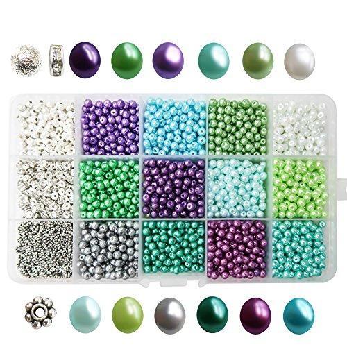 TOAOB 2400pcs 4mm Tiny Satin Luster Glass Pearl Bead Loose Beads Multi Colors Wholesale Beading with Plastic Organizer Box (Turquoise Pendant Plastic)