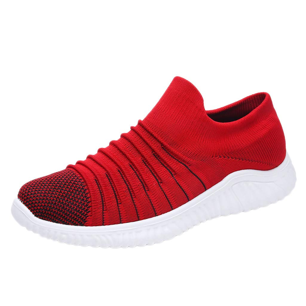 Men's Woven Sneakers Summer Breathable Lightweight Socks Shoes Casual Athletic Outdoors Running Walking Knit Slip On Shoe (Red, US:8.5) by Cealu
