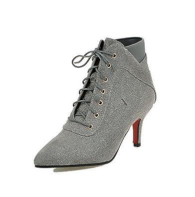 AllhqFashion Damen Schnüren Rund Zehe Hoher Absatz Niedrig-Spitze Stiefel mit Knoten, Grau, 39
