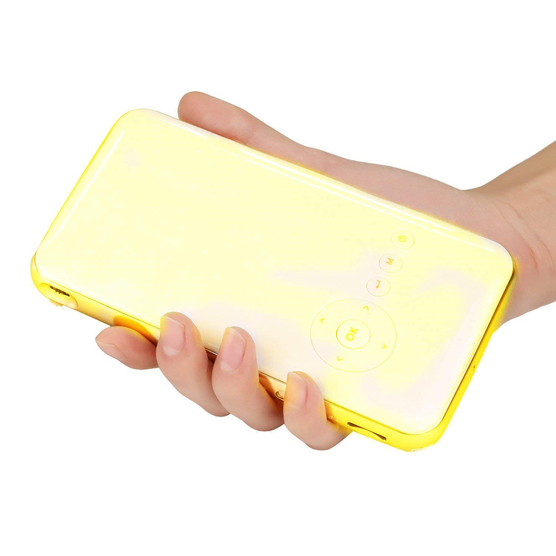 STOGA Mini Proyector de Bolsillo LED Android 4.4 WiFi 1080P HD con 5000mAh Batería Recargable Mini LED Proyector-Amarillo