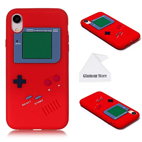 new arrivals 3510d dc8d7 iPhone XR Case,Retro 3D Game Boy Gameboy Design Style Soft Silicone Cover  Case for Apple iPhone XR 6.1 inch+ Free Cleaning Cloth As a Gift (Red)