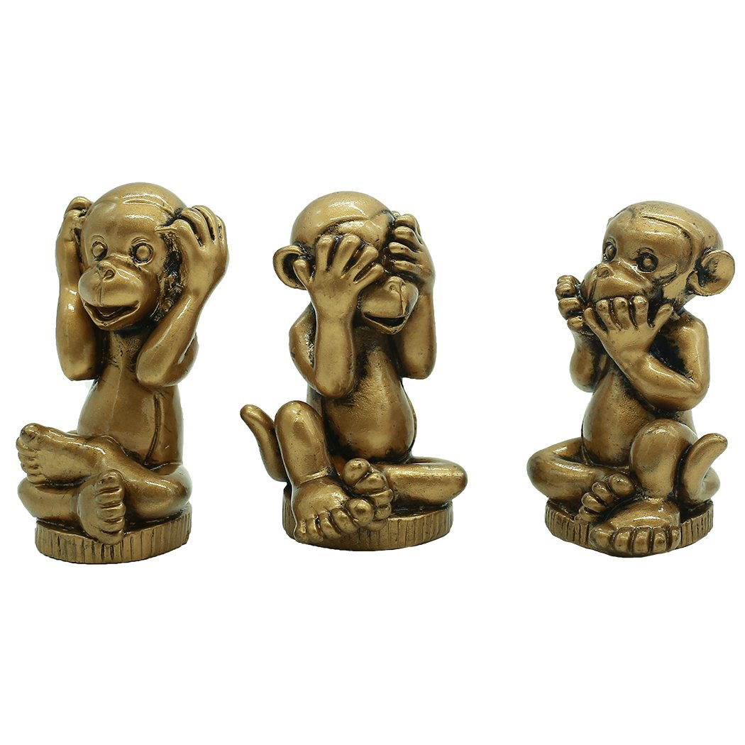 Chinese Fengshui Handmade Resin See Hear Speak No Evil Monkey Figurines Home Decorative