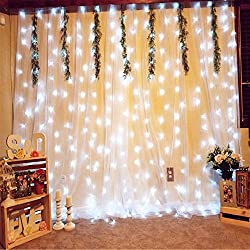 Outop 304LED Window Curtain Icicle Lights 9.8FT 8 Modes Fairy Lights for Party Wedding Garden Home (White)