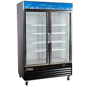 "New Xiltek 53"" Black Swing Glass Door Merchandiser Freezer with LED Lighting"