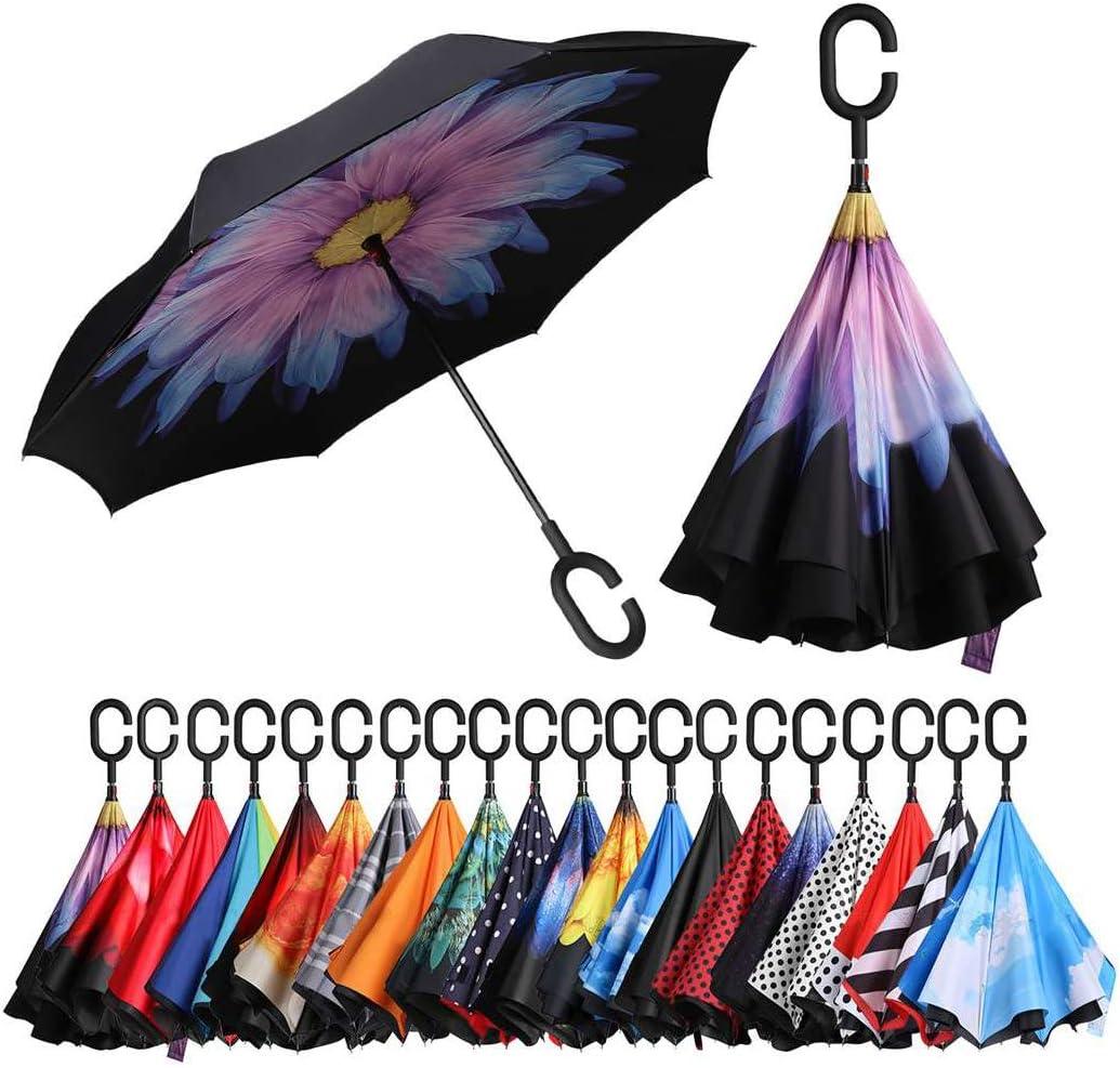 Eono by Amazon - Paraguas Invertido de Doble Capa, Paraguas Plegable de Manos Libres Autoportante,Paraguas a Prueba de Viento Anti-UV para la Lluvia del Coche al Aire Iibre, Margarita Púrpura