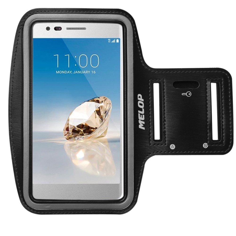 MELOP Armband for LG Aristo, Q6 LV3, K8 2017, Motorola Moto C E E3 E4 G5 Alcatel Idol 5s Professsional Soft Sports Gym Jogging Arm Band with Key Holder Card Cash Pocket - Black 4326456504