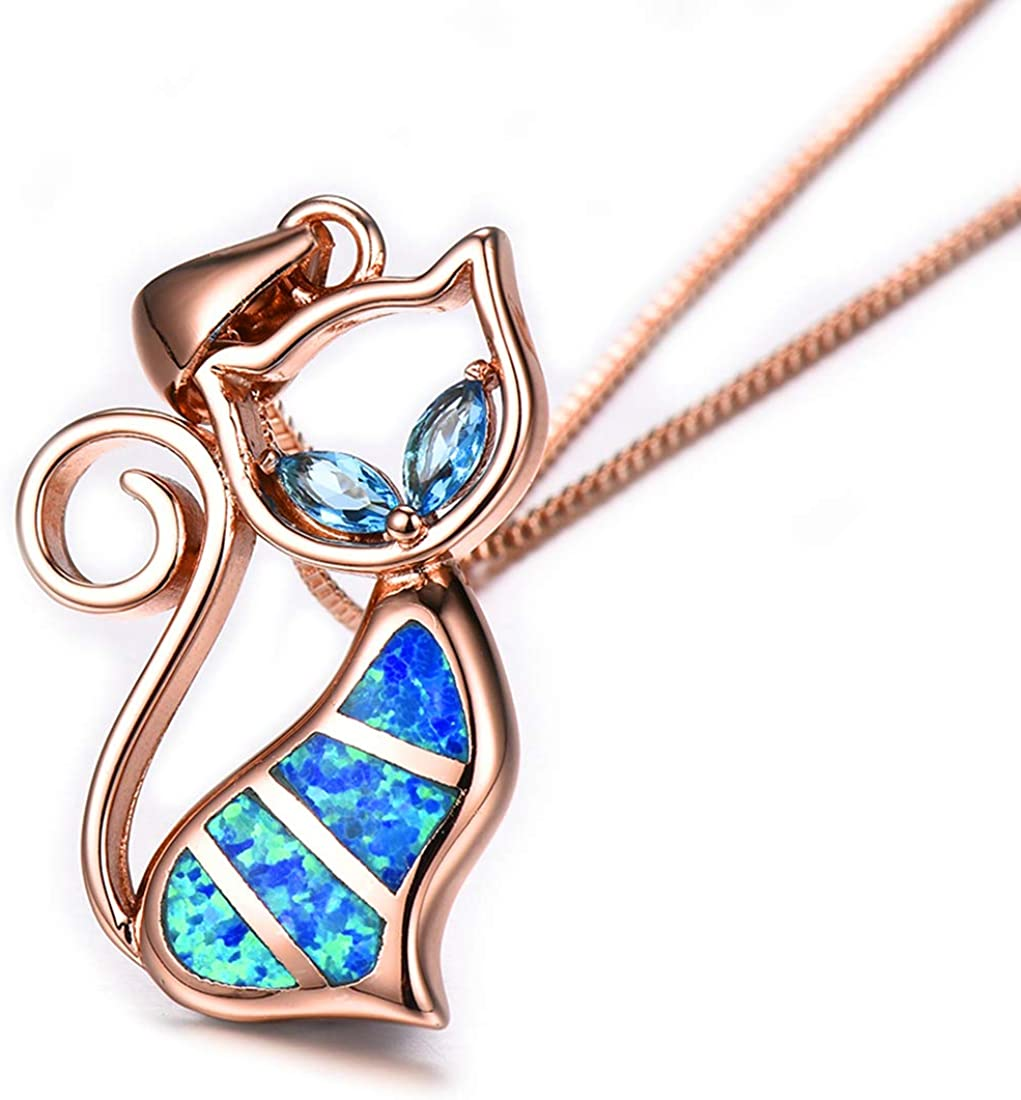 Sterling Silver Blue Opal Oval-Shape CZ Pendant N2682 Statement PC Sparkly Large Blue Opal Necklace Birthday Mom Wife Valentine Gift