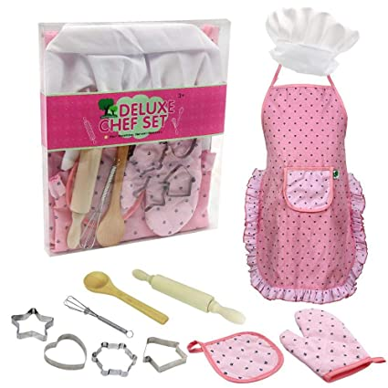 Chef Set Kids Kitchen Gift Playset Kids Cooking Play Hat Apron Cooking Mitt