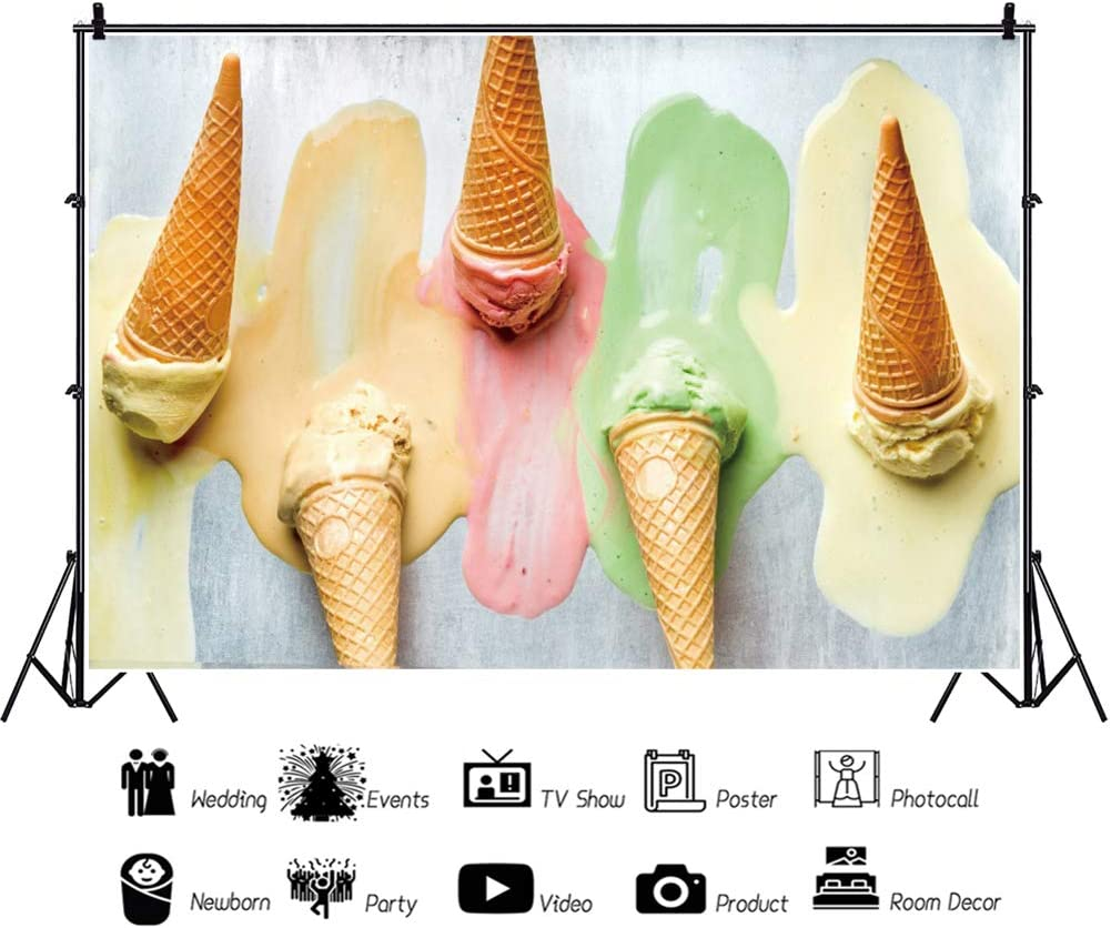 YEELE Melting Scoops Ice Cream Backdrop 10x8ft Kids Summer Birthday Party Photography Background First 1st Birthday Cake Table Decor Banner Son Daughter Artistic Portrait Photo Booth Props