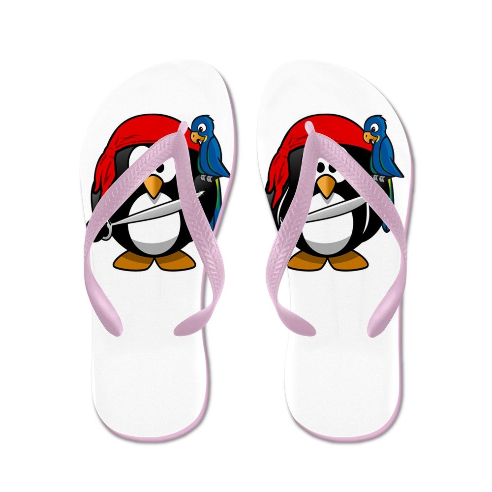 Truly Teague Kid's Little Round Penguin - Pirate & Parrot Pink Rubber Flip Flops Sandals 1-4