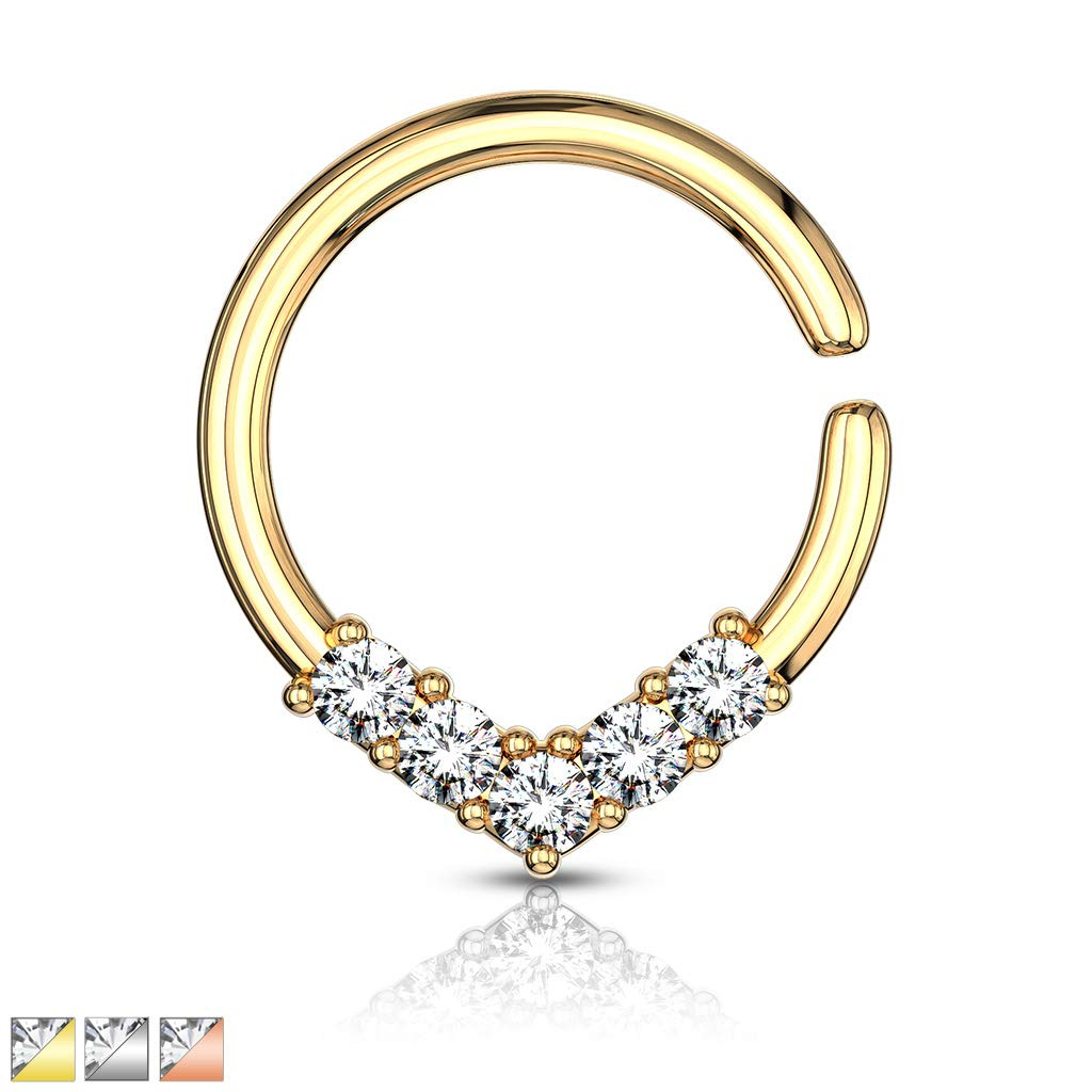 Fifth Cue 16G 5 CZ Set V Shaped on Round Bendable Cut Ring for Nose Septum Daith /& Ear Cartilage