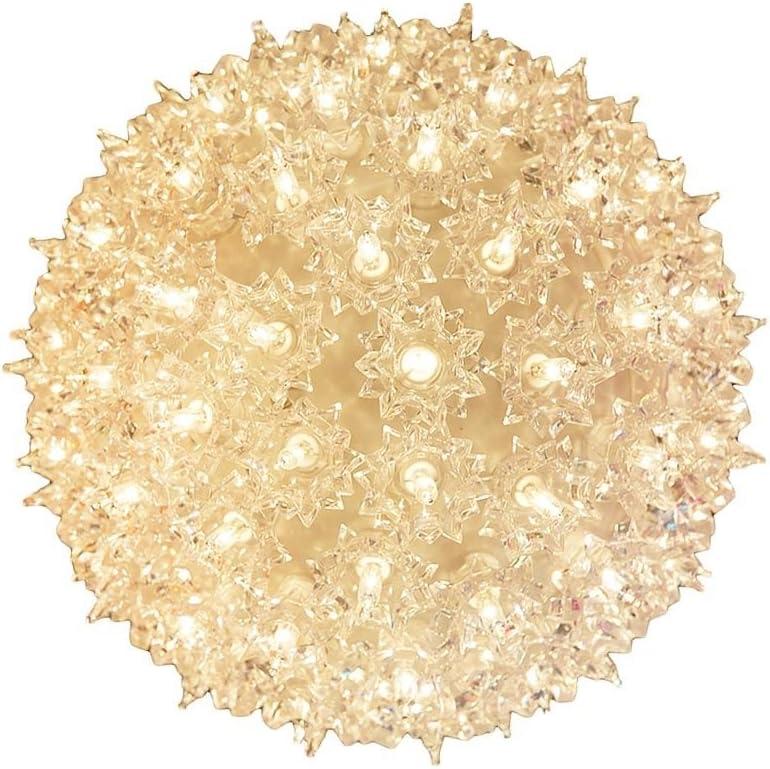 "Novelty Lights SS100-CL Commercial Grade Indoor/Outdoor Christmas Starlight Sphere, Clear, 100 Light, 7.5"" Diameter, Stackable Plug"