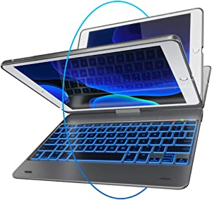 iPad Keyboard Case for iPad 2018 (6th Gen) - iPad 2017 (5th Gen) - iPad Pro 9.7 - iPad Air 2 & 1 - Thin & Light - 360 Rotatable - Wireless/BT - Backlit 10 Color - iPad Case with Keyboard (Space Gray)