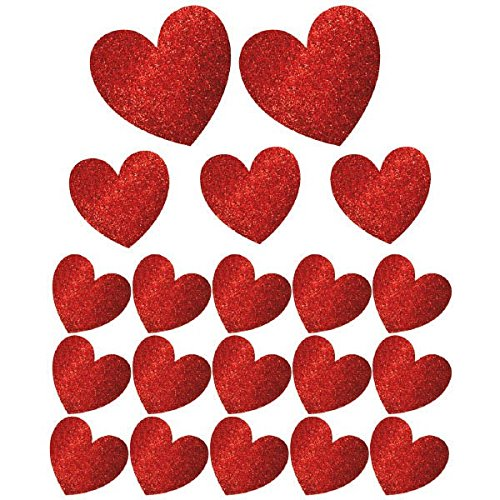 Amscan Blushing Valentine's Day Glitter Heart Cutouts Party Decoration Mega Value Kit (20 Piece), Red, One Size