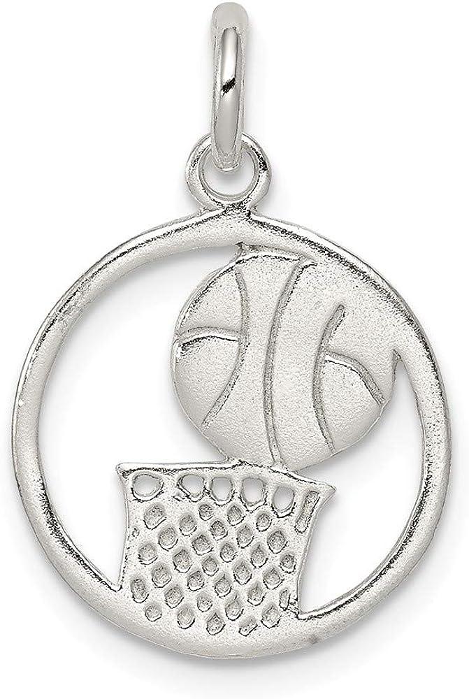 Sterling Silver Polished Basketball Pendant