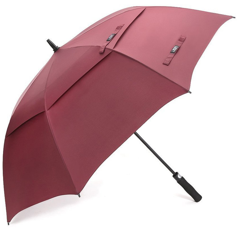 G4Free 62 Inch Large Automatic Open Golf Umbrella Extra Oversize Double Canopy Vented Windproof Stick Umbrellas Waterproof (Wine Red) by G4Free