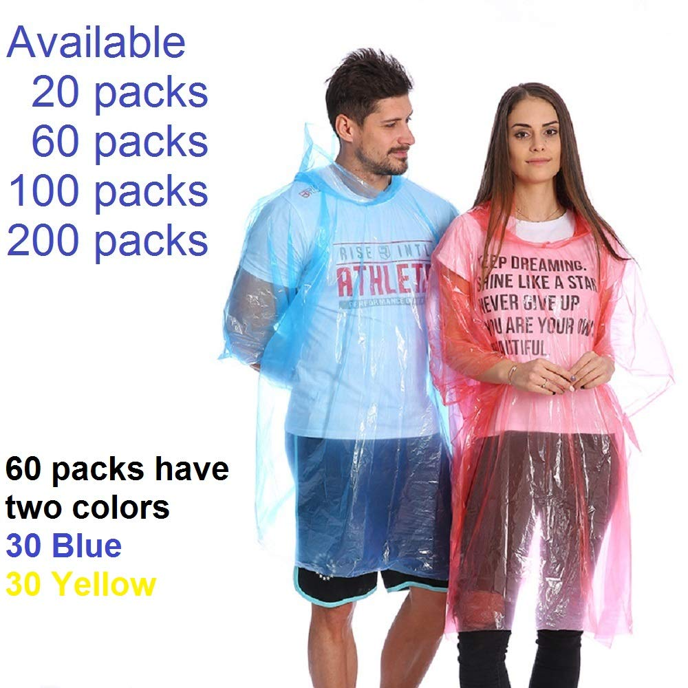 Leberna Rain Ponchos for Adult & Teens | Disposable Poncho for Women & Men | One Size Fit All with Attached Hood | Emergency Waterproof Raincoat Camping Outdoors Theme Parks Assorted Colors Bulk Pack by Leberna